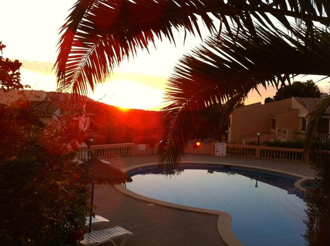 Sunset Mallorca. Solnedgång i Santa Ponca i vackra Kings Park på Mallorca