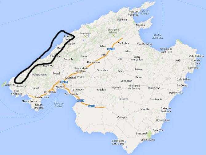 Karta Västkustvägen Mallorca